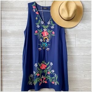 PLUS Navy Embroidered Dress